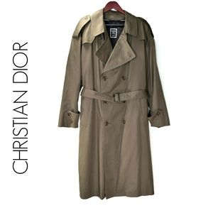 DIOR Brown Trench Coat 44R Removable Wool Liner